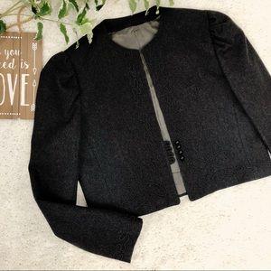Vintage Wool Blazer Soutache Embroidered Crop Gray